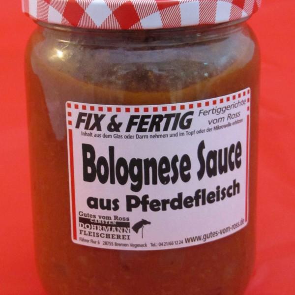 Bolognese aus Pferdefleisch im Glas